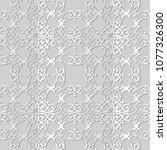 3d white paper art spiral curve ... | Shutterstock .eps vector #1077326300