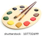 Wooden Art Palette With  Paint...