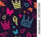 abstract seamless girlish...   Shutterstock .eps vector #1077327368