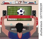 football fan rejoices at the... | Shutterstock .eps vector #1077330239