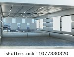 stylish futuristic garage... | Shutterstock . vector #1077330320