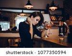 beautiful girl in drinks aperol ...   Shutterstock . vector #1077350594