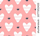 romantic seamless pattern with... | Shutterstock .eps vector #1077352433