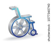 wheel chair 3d glossy vector... | Shutterstock .eps vector #1077360740