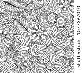 hand drawn seamless pattern... | Shutterstock .eps vector #1077367010