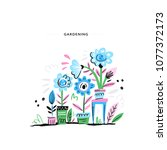 beautiful home garden with lots ...   Shutterstock .eps vector #1077372173