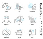crime and law vector icons set  ... | Shutterstock .eps vector #1077374960