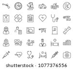 thin line icon set   heart... | Shutterstock .eps vector #1077376556