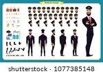 pilot character creation set...   Shutterstock .eps vector #1077385148