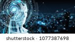 white male humanoid on blurred... | Shutterstock . vector #1077387698