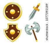 vector set of wooden shields ...