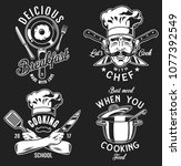 set of cooking emblem on black... | Shutterstock . vector #1077392549