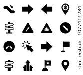 solid vector icon set  ... | Shutterstock .eps vector #1077411284