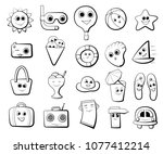 black and white icons on the... | Shutterstock .eps vector #1077412214