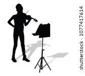 young girl violinist silhouette ... | Shutterstock .eps vector #1077417614