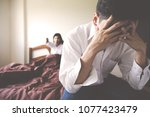 handsome man is disappointed... | Shutterstock . vector #1077423479