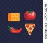 food pixel art icons set slice... | Shutterstock .eps vector #1077423770