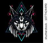 the cat sacred geometry | Shutterstock .eps vector #1077424490