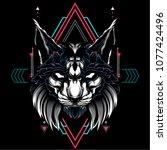the cat sacred geometry | Shutterstock .eps vector #1077424496
