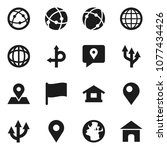 flat vector icon set   world... | Shutterstock .eps vector #1077434426