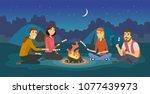friends on a camp   cartoon... | Shutterstock .eps vector #1077439973