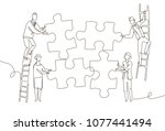 business team doing a puzzle  ... | Shutterstock .eps vector #1077441494