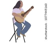 music man sitting on the chair... | Shutterstock .eps vector #1077445160