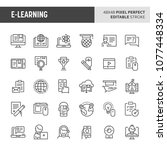 30 thin line icons associated... | Shutterstock .eps vector #1077448334