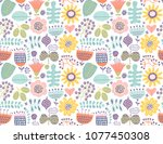 floral seamless pattern | Shutterstock .eps vector #1077450308