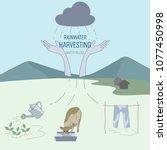 rainwater harvesting for...   Shutterstock .eps vector #1077450998