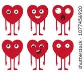 heart face vector set in red...   Shutterstock .eps vector #1077456920