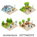 isometric zoo concept with... | Shutterstock .eps vector #1077460193