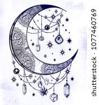 ornate crescent boho moon with... | Shutterstock .eps vector #1077460769
