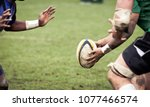 rugby player preparing to kick... | Shutterstock . vector #1077466574