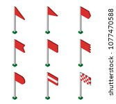 isometric red flag collection...   Shutterstock .eps vector #1077470588