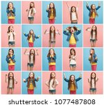 the collage of different human...   Shutterstock . vector #1077487808