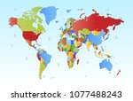 color world map vector | Shutterstock .eps vector #1077488243