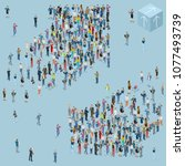 people crowd arrow. isometric... | Shutterstock .eps vector #1077493739