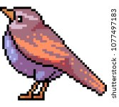 vector pixel art bird fat... | Shutterstock .eps vector #1077497183