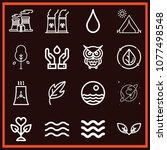set of 16 nature outline icons... | Shutterstock .eps vector #1077498548