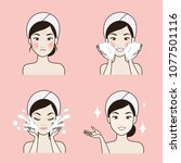 steps to clean the face for the ... | Shutterstock .eps vector #1077501116