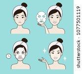 facial procedures for girls to... | Shutterstock .eps vector #1077501119
