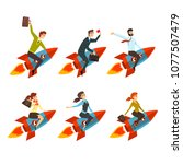 business men and women flying... | Shutterstock .eps vector #1077507479
