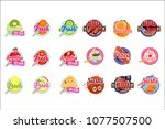 flat vector set of stickers for ...   Shutterstock .eps vector #1077507500