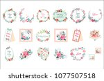 vector set of beautiful floral... | Shutterstock .eps vector #1077507518