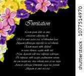 beautiful floral frame on black ... | Shutterstock .eps vector #1077514970