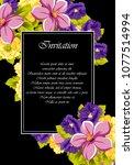 beautiful floral frame on black ... | Shutterstock .eps vector #1077514994