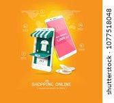 shopping online on website or... | Shutterstock .eps vector #1077518048