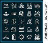 set of 25 nature outline icons... | Shutterstock .eps vector #1077520604