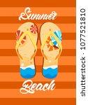 summer beach in lettering style.... | Shutterstock .eps vector #1077521810